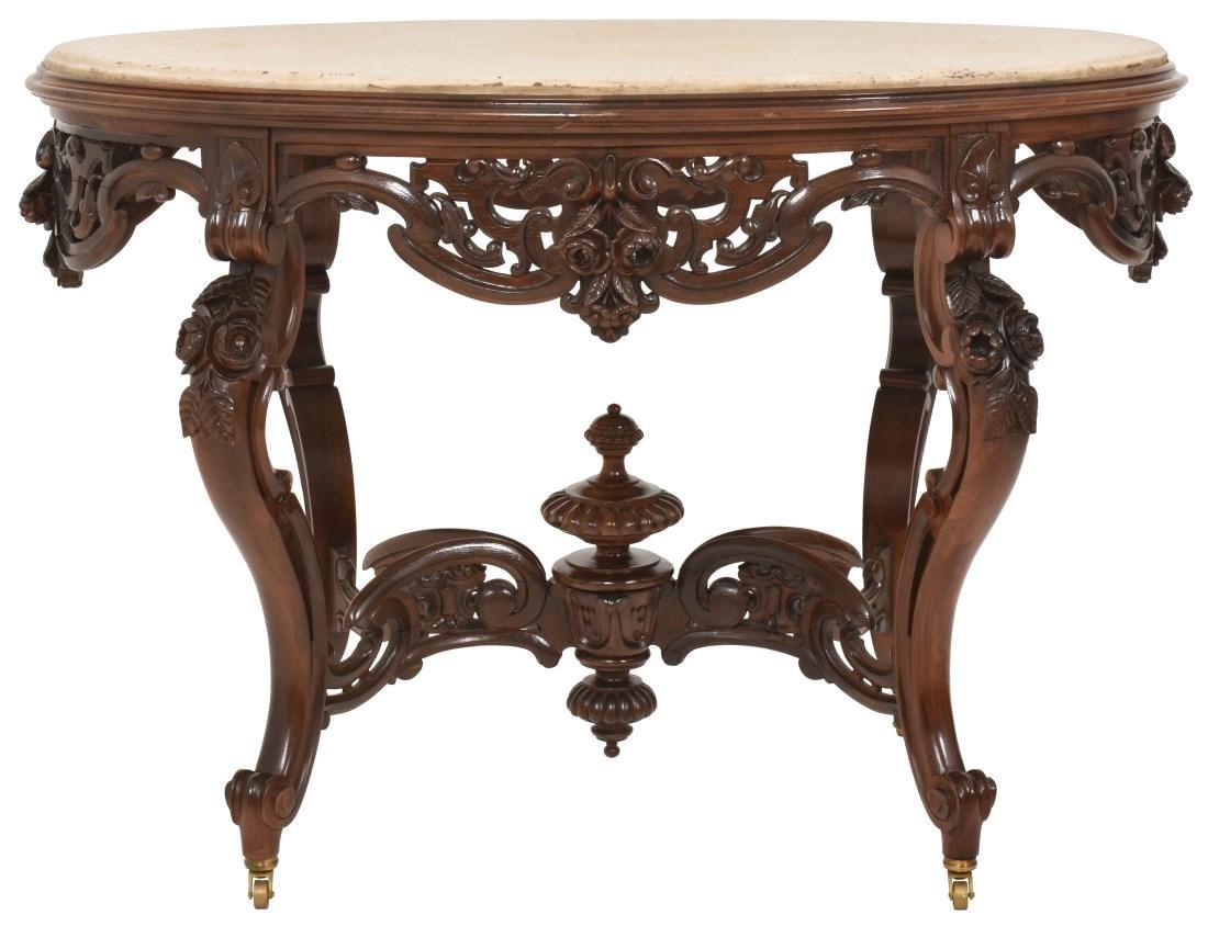 J & JW Meeks Rosewood Marble Top Table