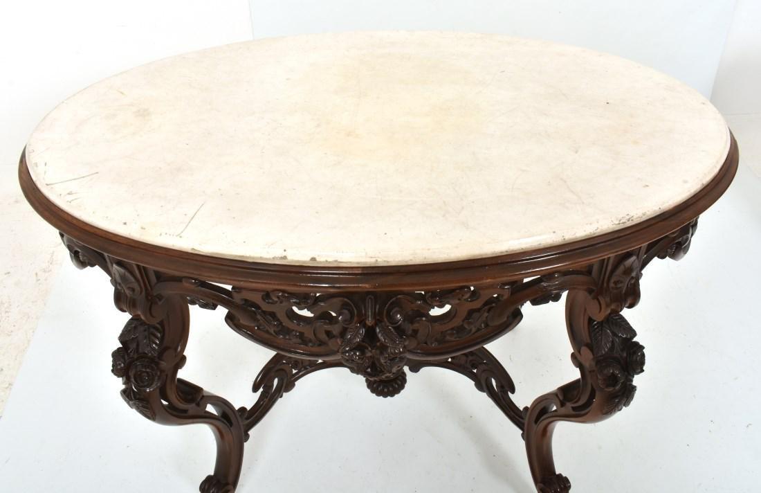 J & JW Meeks Rosewood Marble Top Table - 2