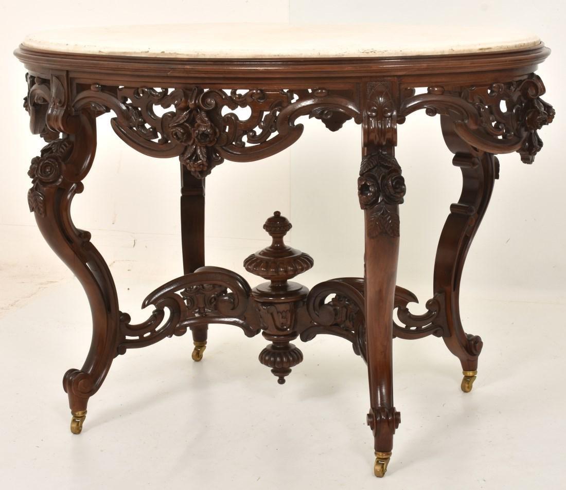 J & JW Meeks Rosewood Marble Top Table - 3