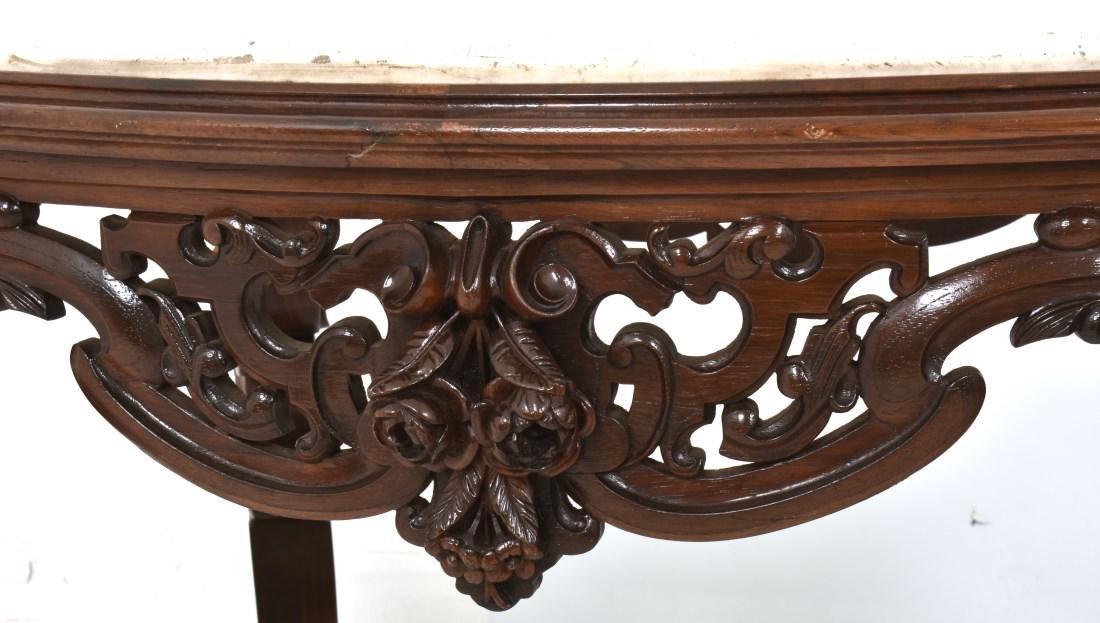 J & JW Meeks Rosewood Marble Top Table - 4