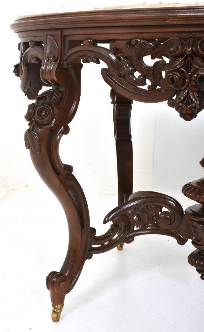 J & JW Meeks Rosewood Marble Top Table - 5