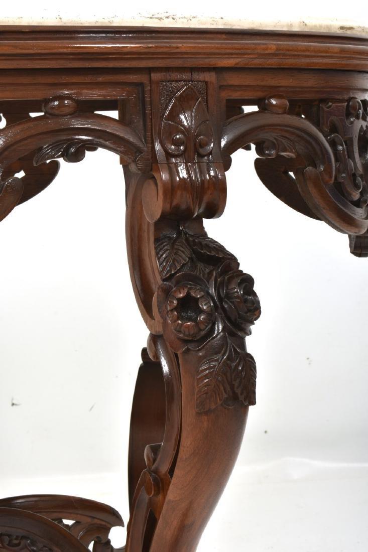 J & JW Meeks Rosewood Marble Top Table - 6