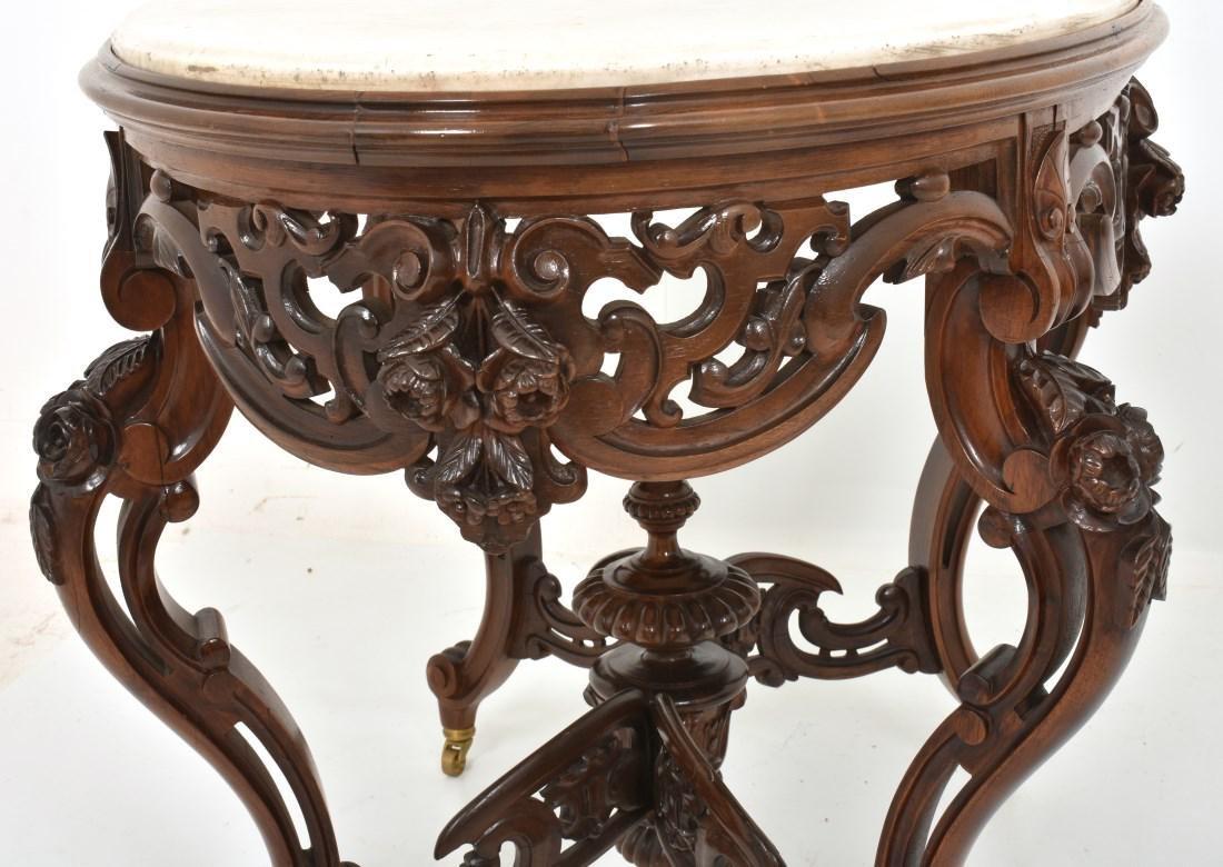 J & JW Meeks Rosewood Marble Top Table - 9