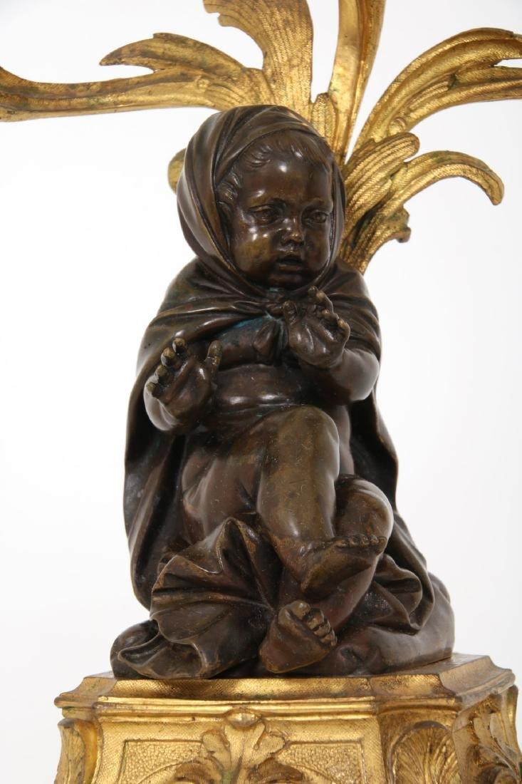 Pr. Bronze Figural Putti Candelabras - 5