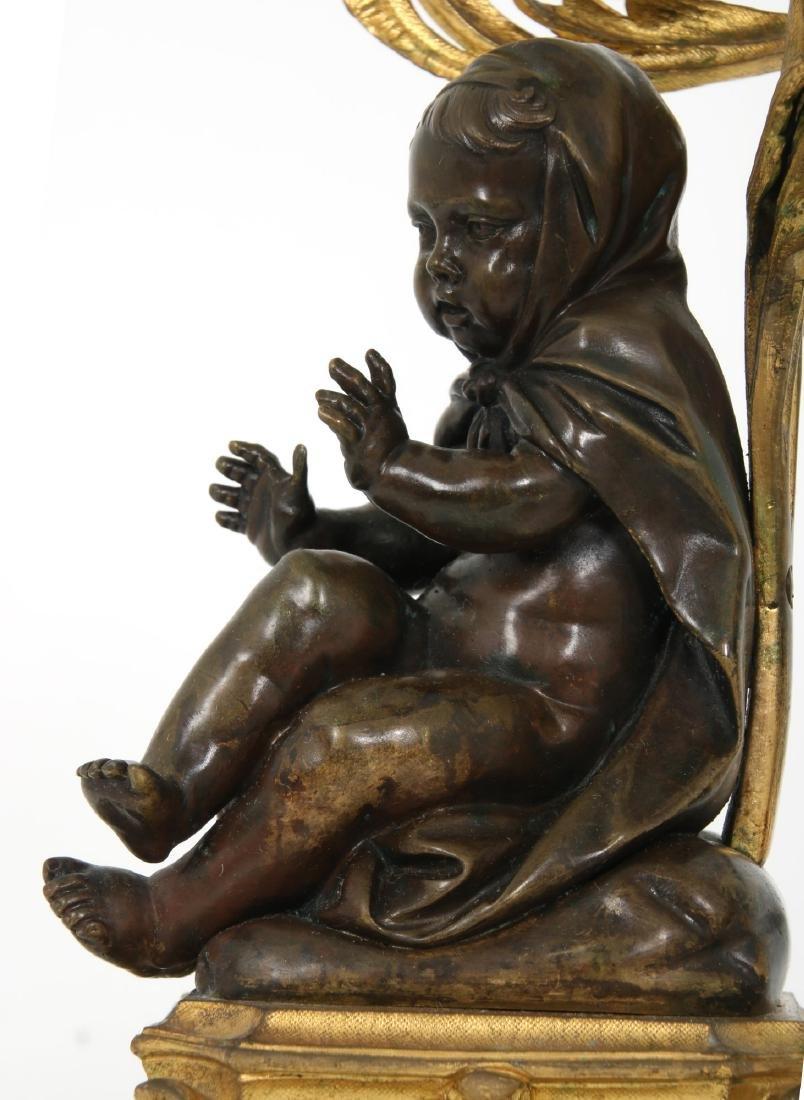 Pr. Bronze Figural Putti Candelabras - 6