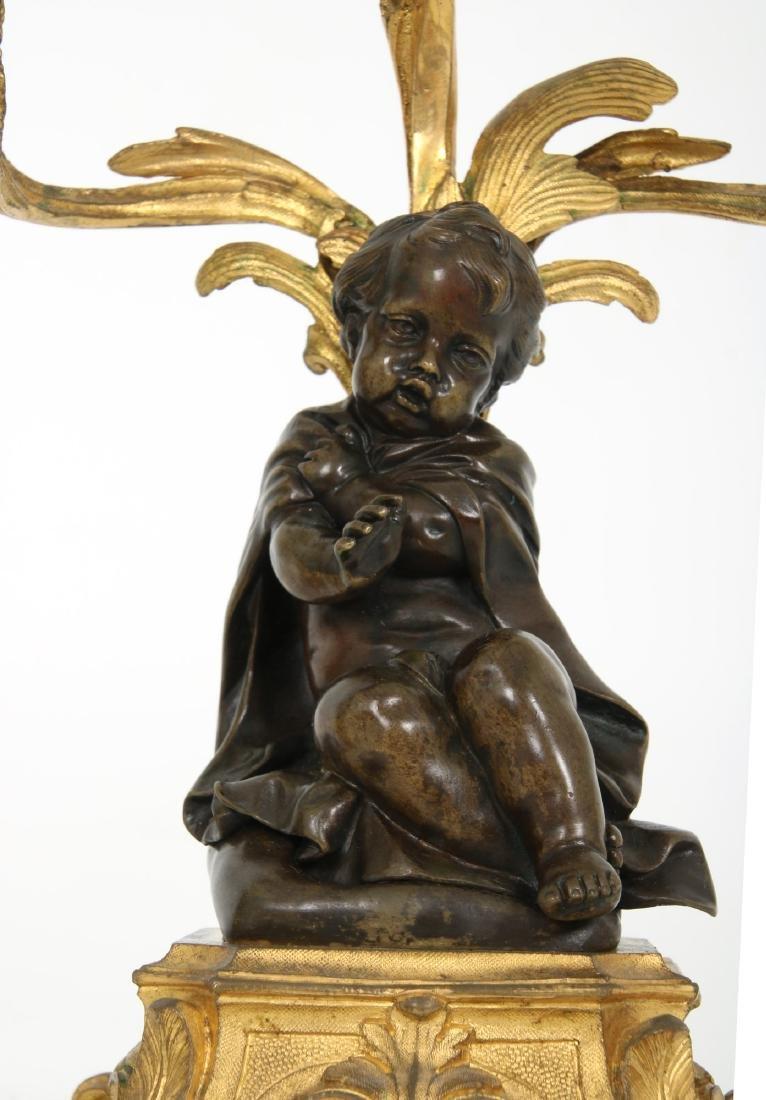Pr. Bronze Figural Putti Candelabras - 8