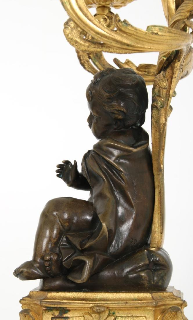 Pr. Bronze Figural Putti Candelabras - 9