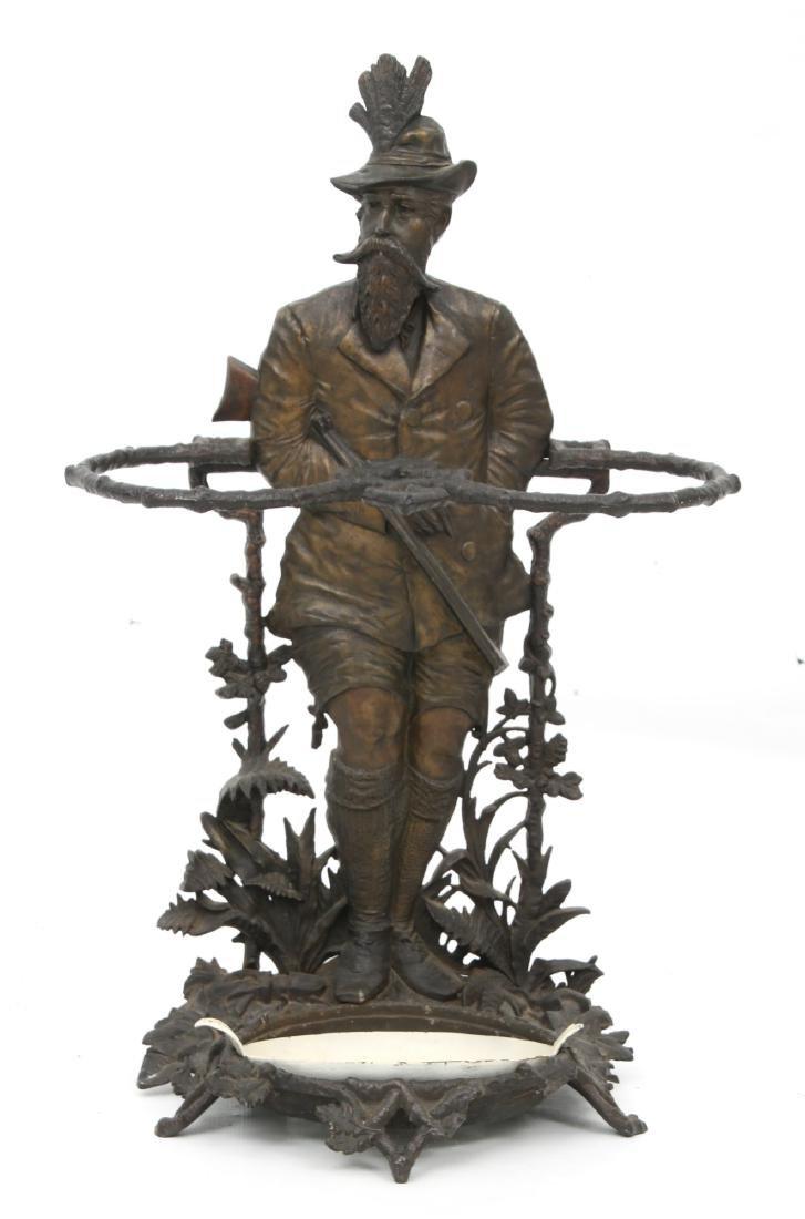 Cast Iron Figural Hunter Umbrella Stand