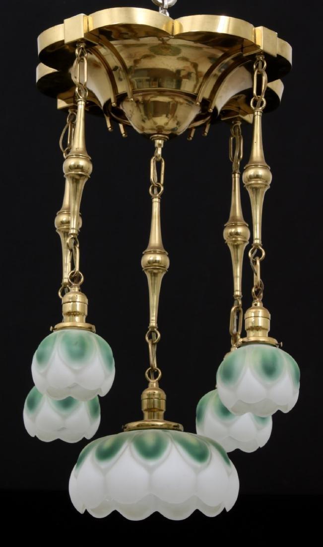 Brass 5 Light Chandelier - 2