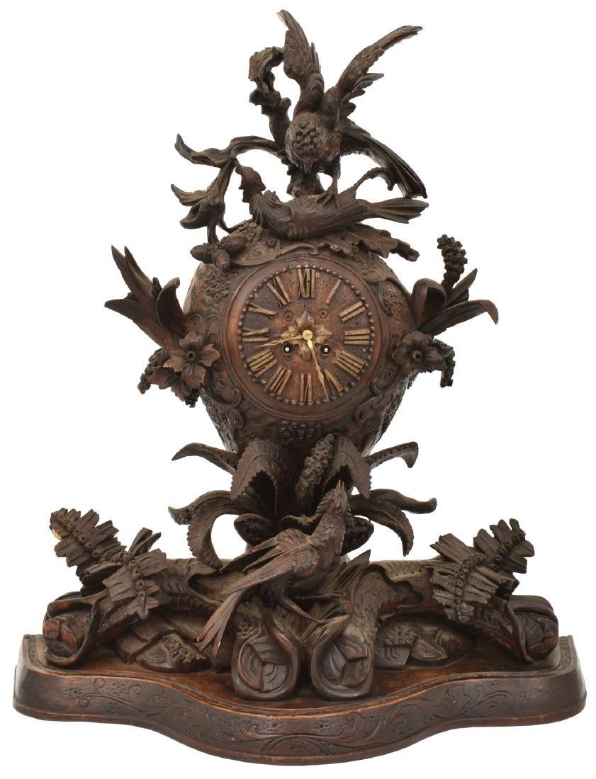 Large Carved Black Forest Mantle Clock