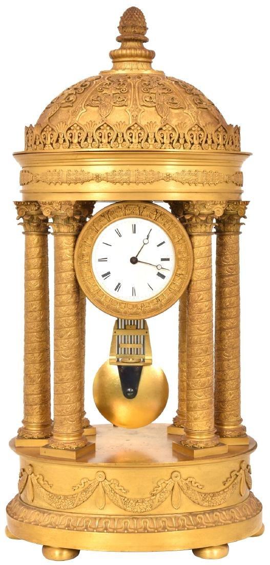 Gilt Bronze Empire Mantle Clock