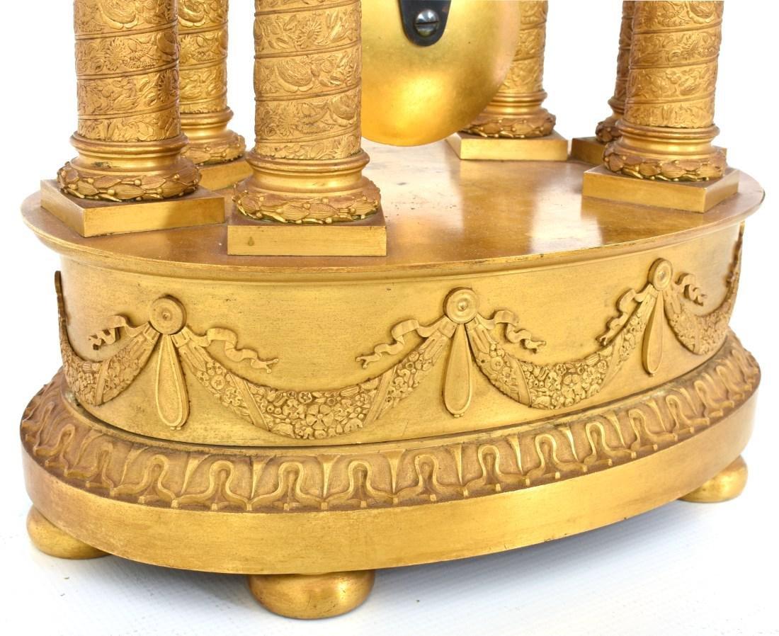 Gilt Bronze Empire Mantle Clock - 7
