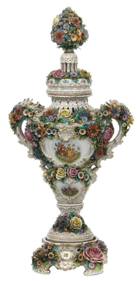 Lg. Sitzendorf Porcelain Covered Urn