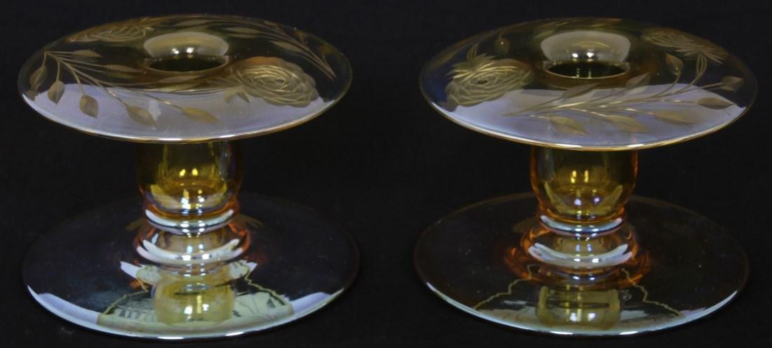 Pr. Durand Cut Art Glass Candleholders