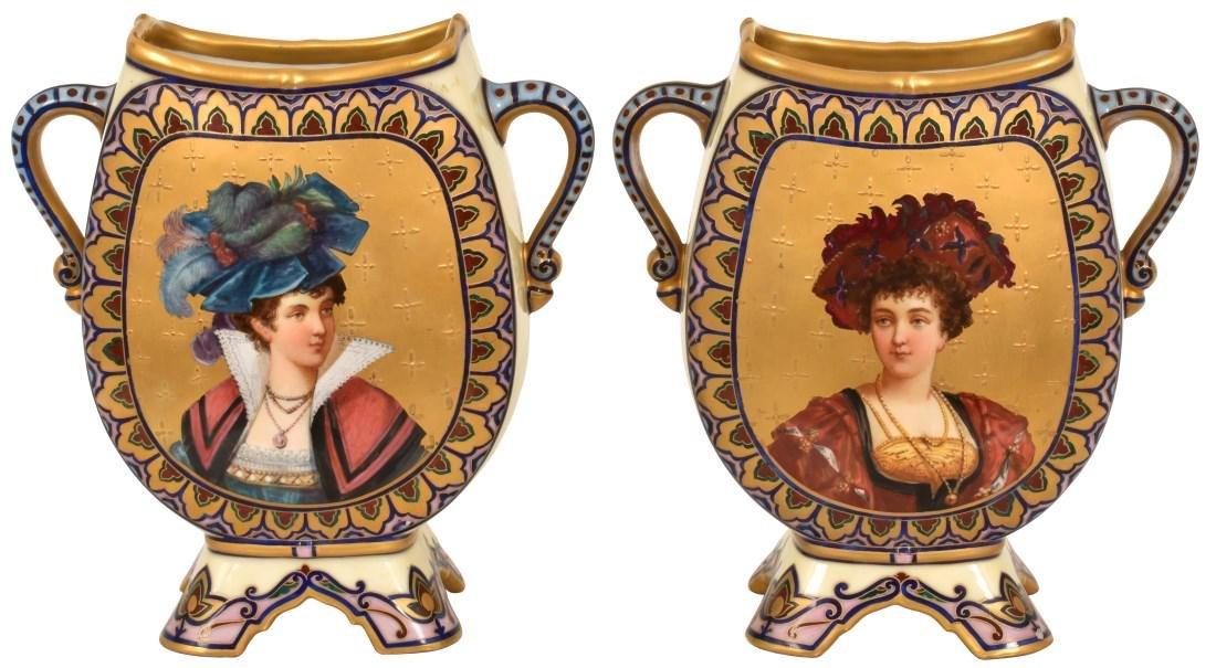 Pr. Porcelain painted Portrait Vases