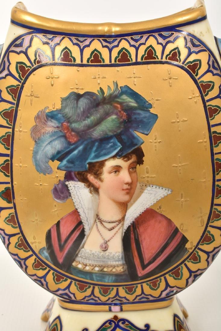 Pr. Porcelain painted Portrait Vases - 2