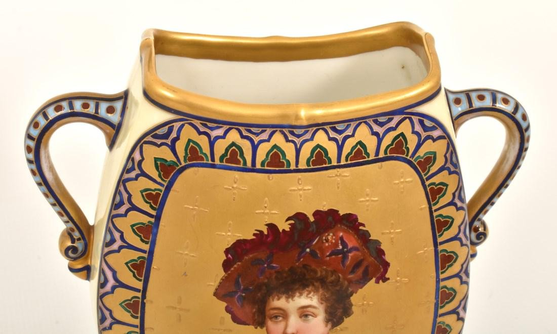 Pr. Porcelain painted Portrait Vases - 5
