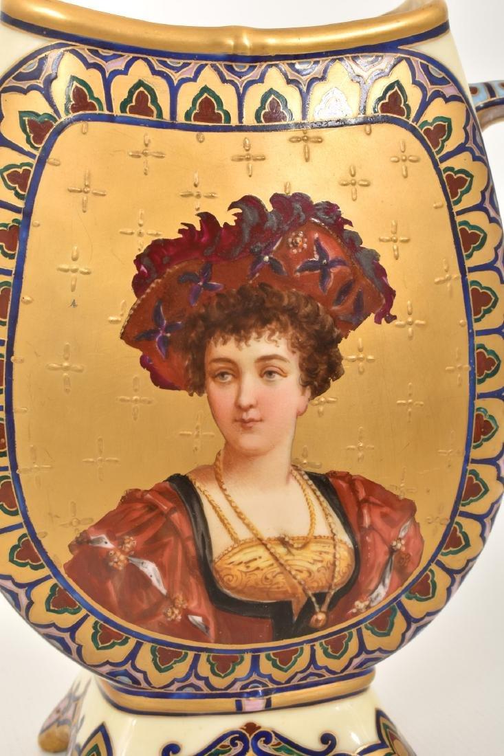 Pr. Porcelain painted Portrait Vases - 6