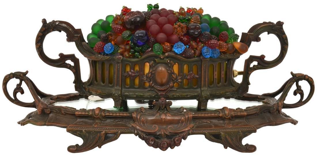 Czech Glass Fruit Basket Lamp On Plateau