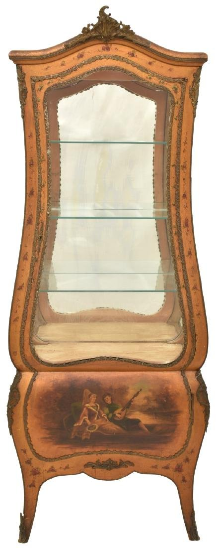 Paint Decorated Gilt Vitrine Curio Cabinet