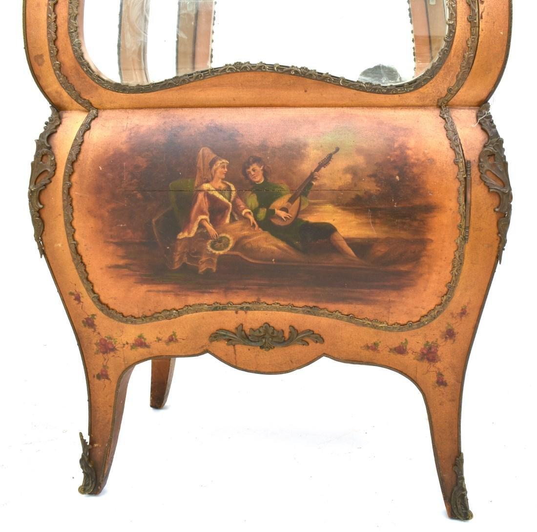 Paint Decorated Gilt Vitrine Curio Cabinet - 5