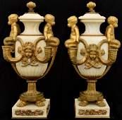 Pr Marble  Bronze Urn Candelabras