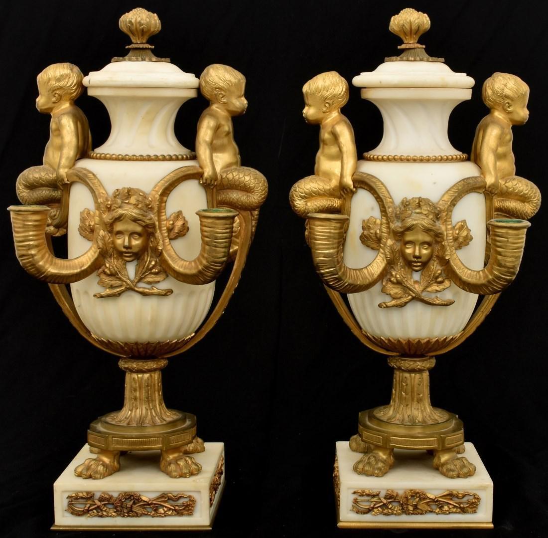 Pr. Marble & Bronze Urn Candelabras