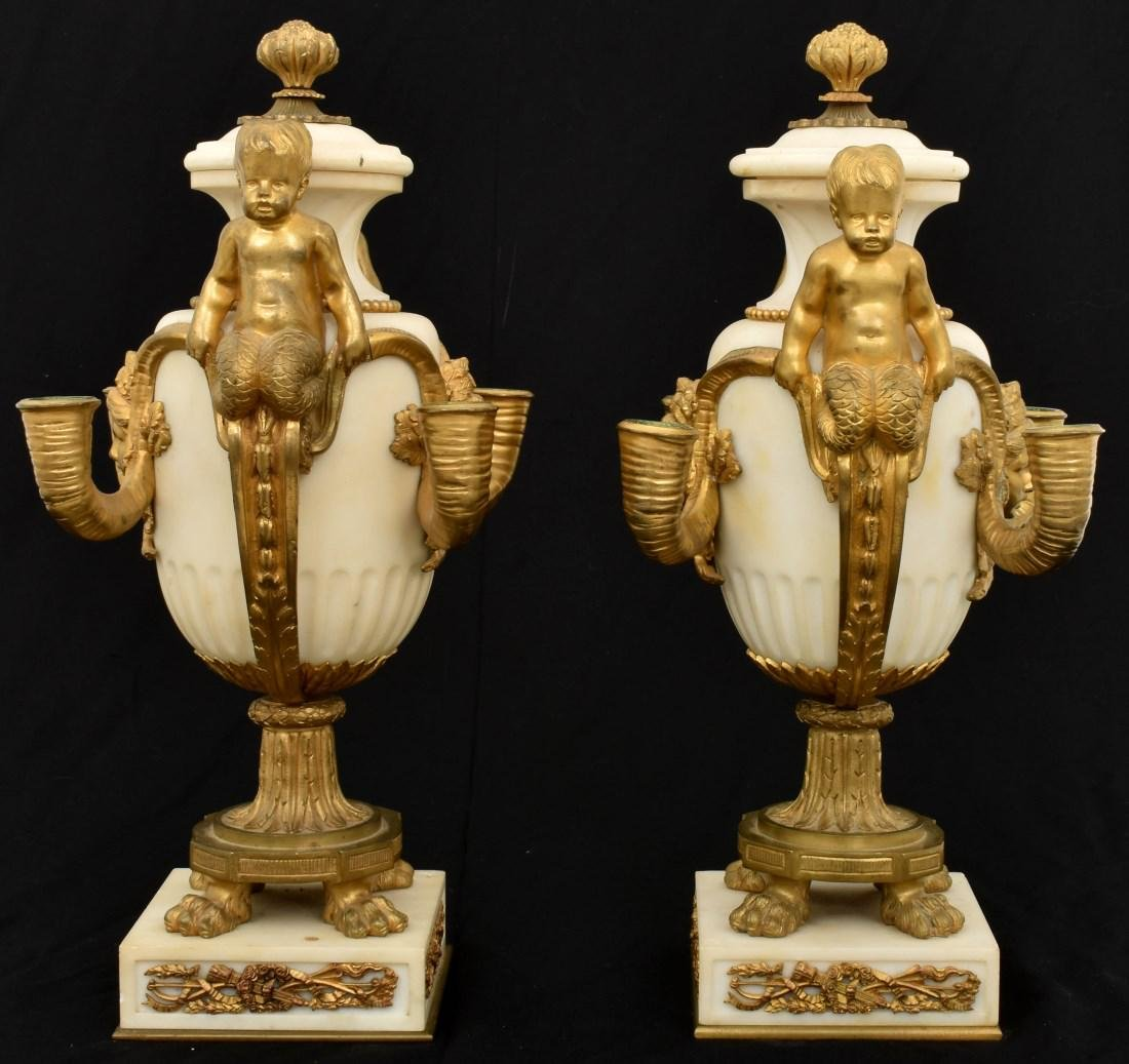 Pr. Marble & Bronze Urn Candelabras - 2