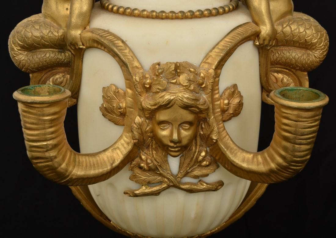 Pr. Marble & Bronze Urn Candelabras - 3