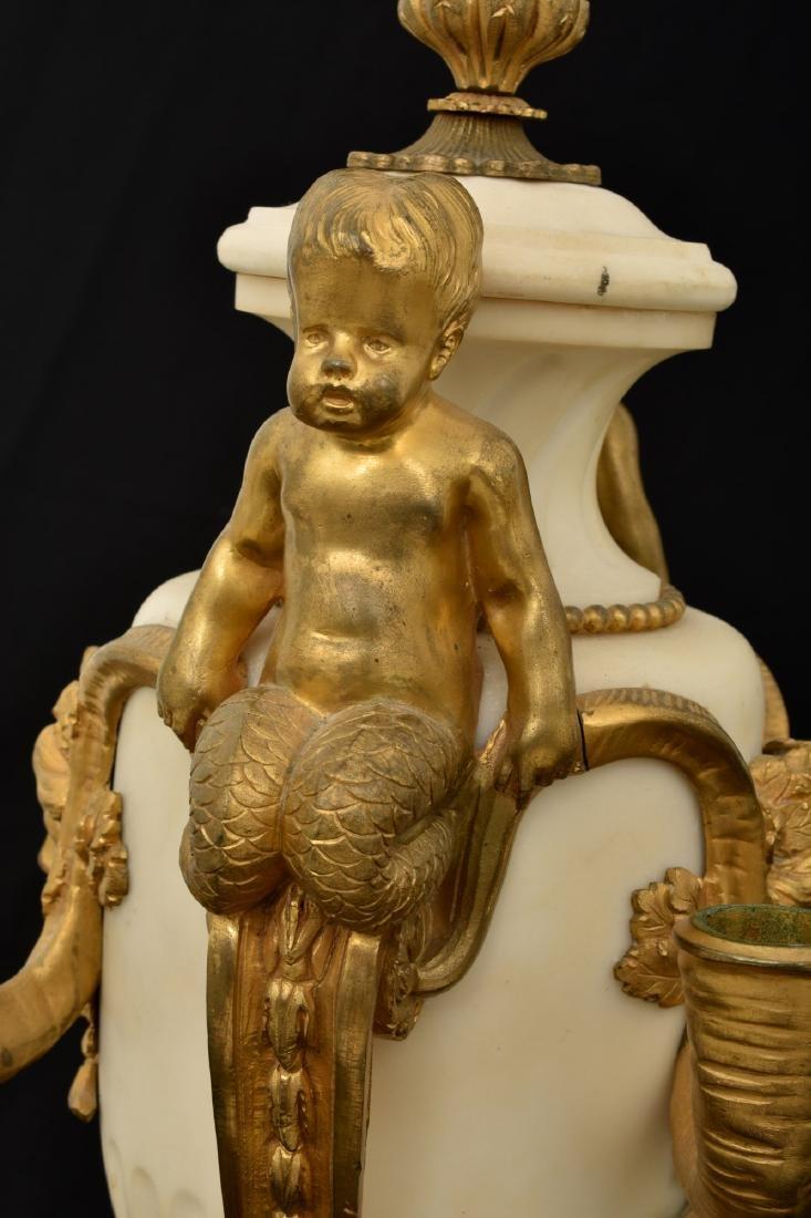 Pr. Marble & Bronze Urn Candelabras - 5