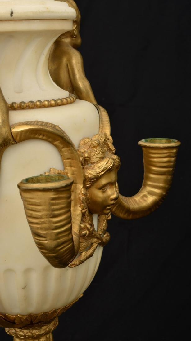 Pr. Marble & Bronze Urn Candelabras - 7