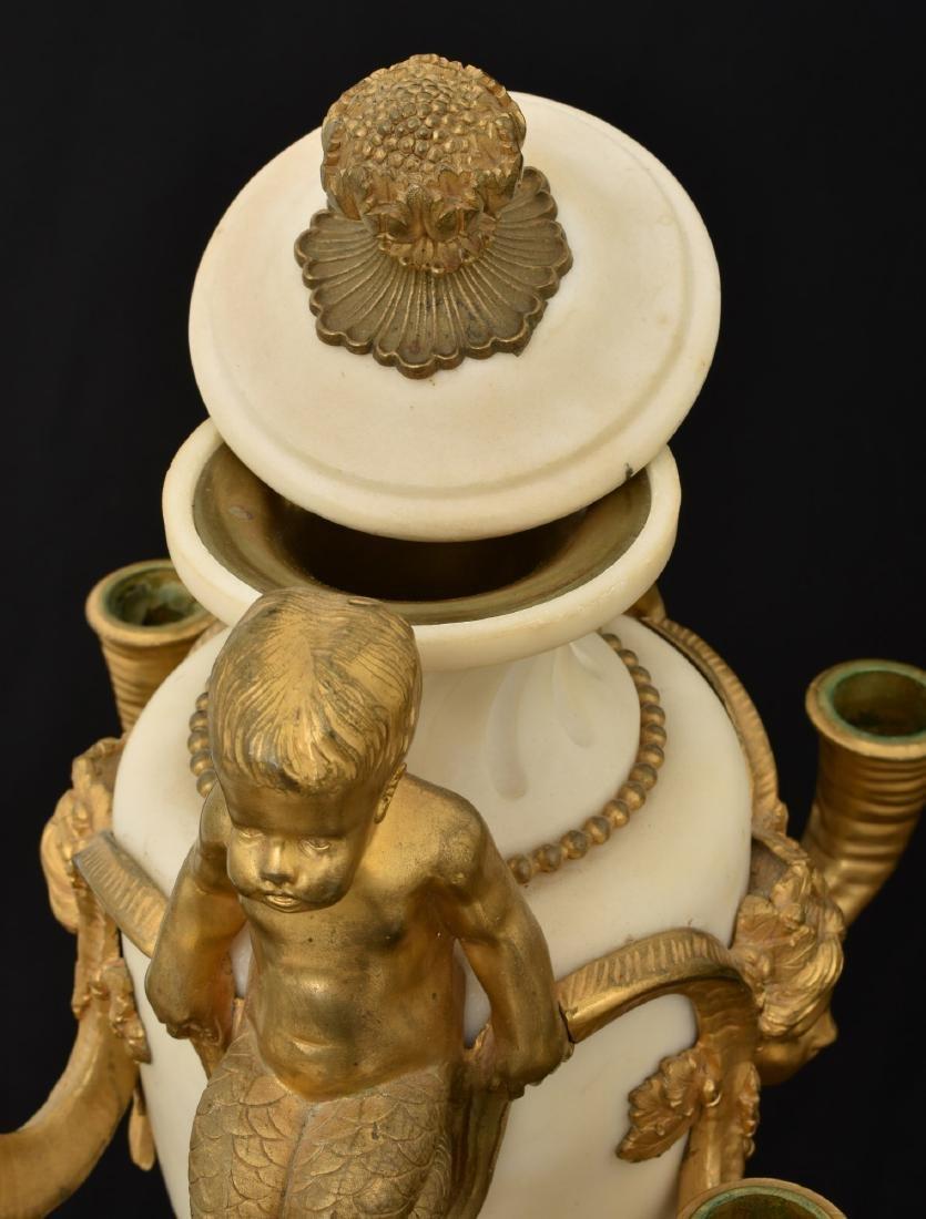 Pr. Marble & Bronze Urn Candelabras - 8