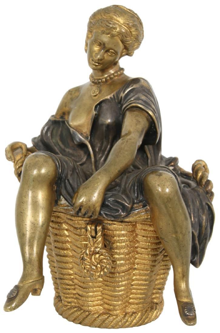 Erotic Bronze Figural Box