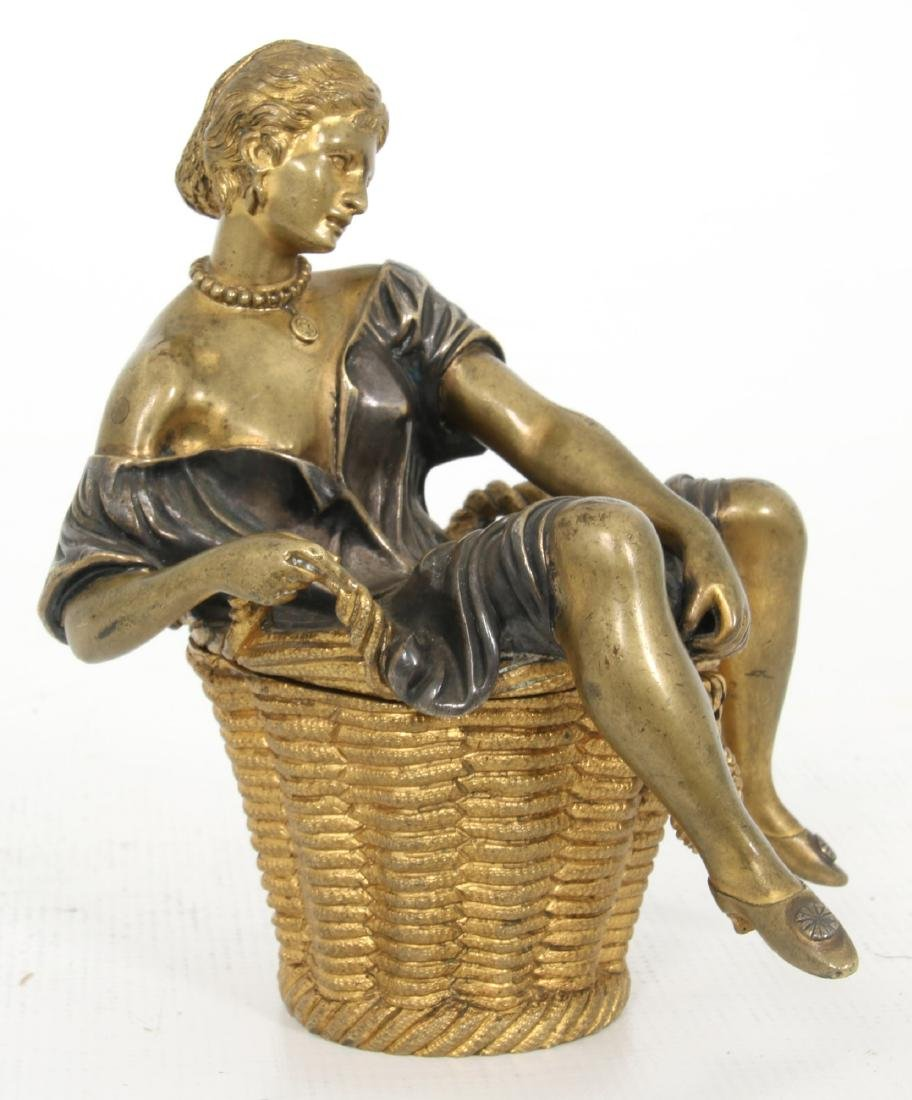Erotic Bronze Figural Box - 3