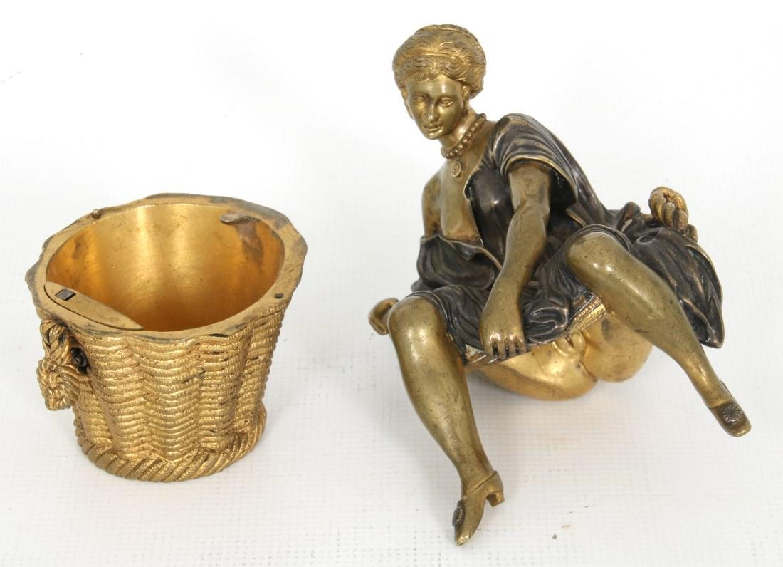 Erotic Bronze Figural Box - 8