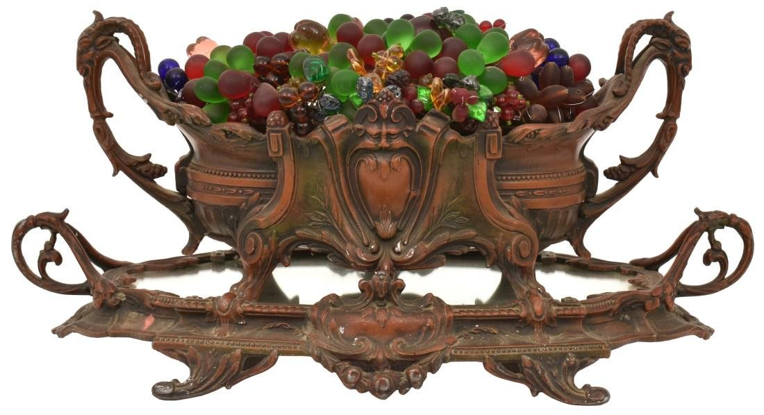 Czech Glass Fruit Basket Lamp On Plateau