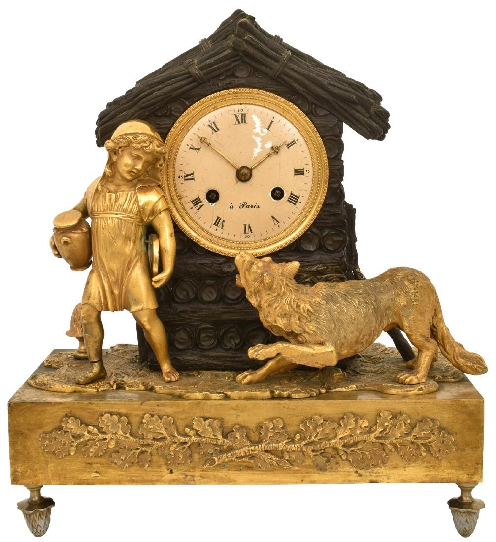 Bronze Little Red Riding Hood Mantle Clock