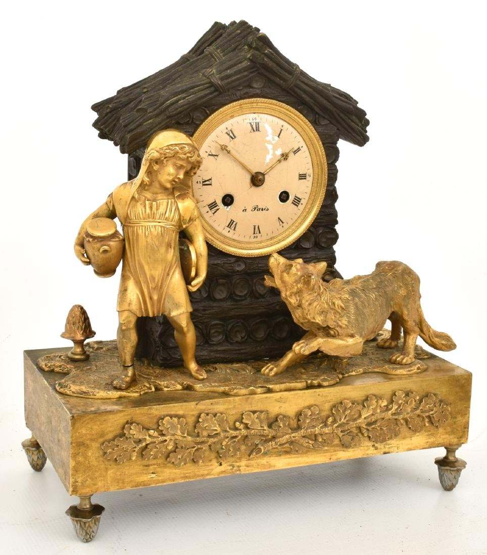 Bronze Little Red Riding Hood Mantle Clock - 2