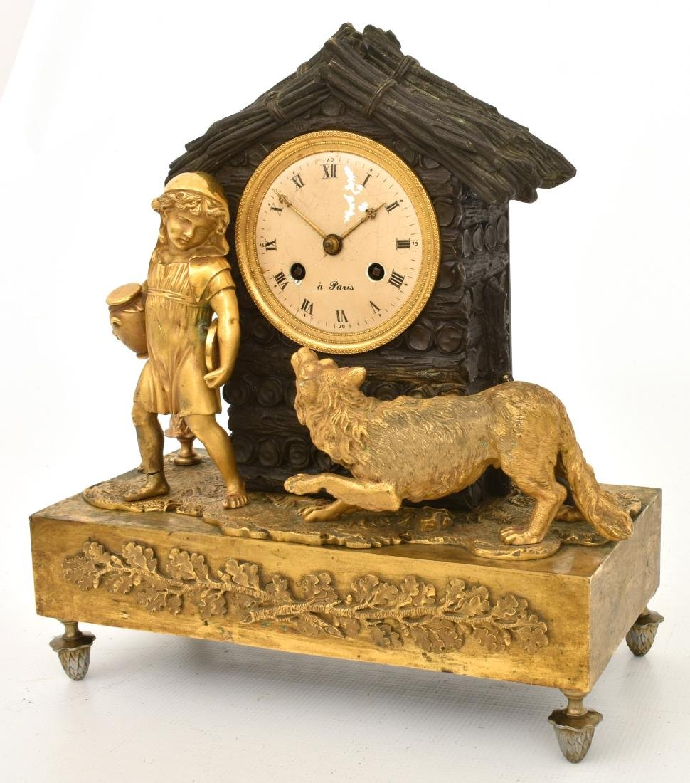 Bronze Little Red Riding Hood Mantle Clock - 3