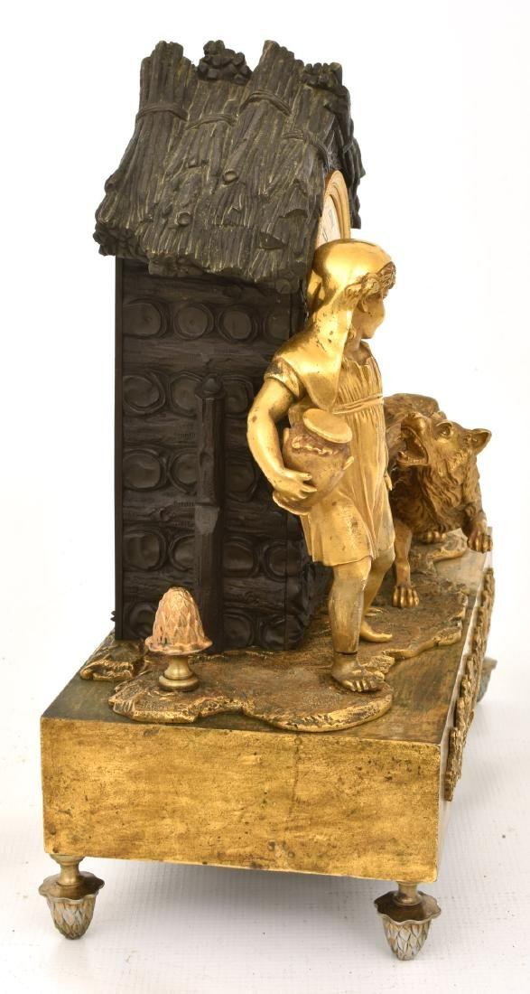 Bronze Little Red Riding Hood Mantle Clock - 9