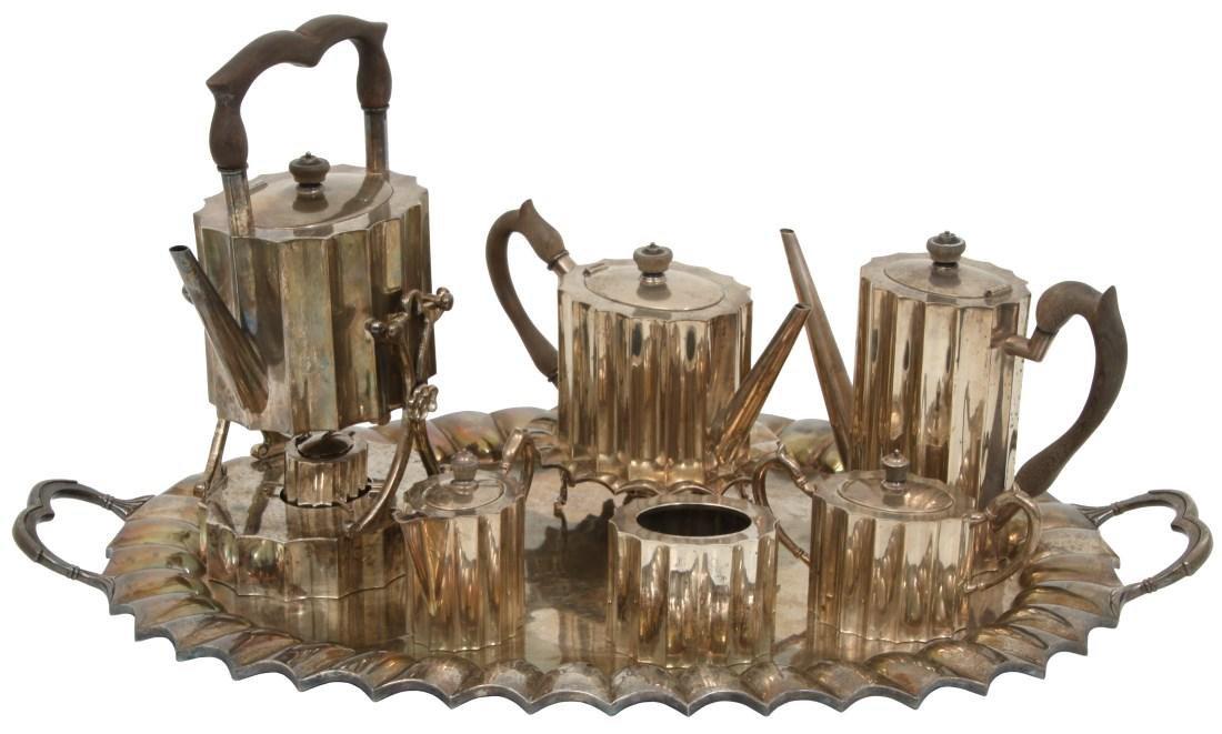 7 Pcs. J. Jimenez Sterling Tea Set w/ Tray