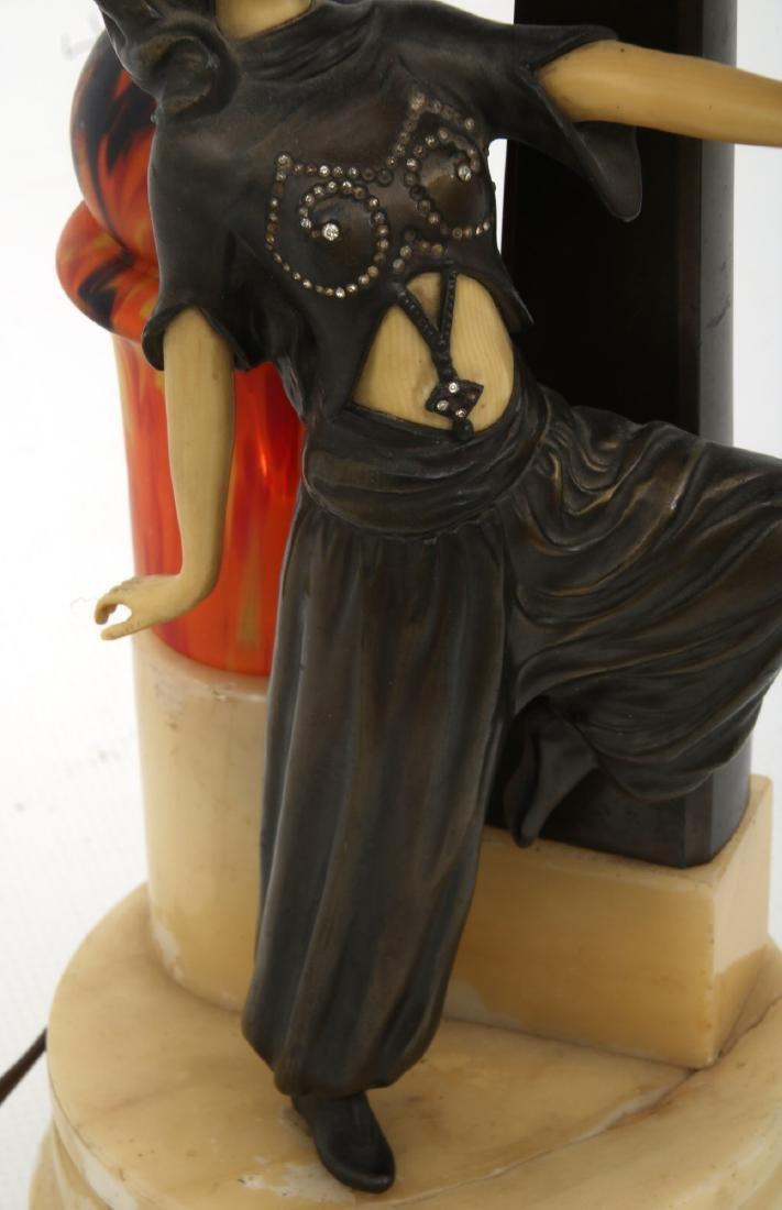 German Deco Dancer Figural Lamp - 8