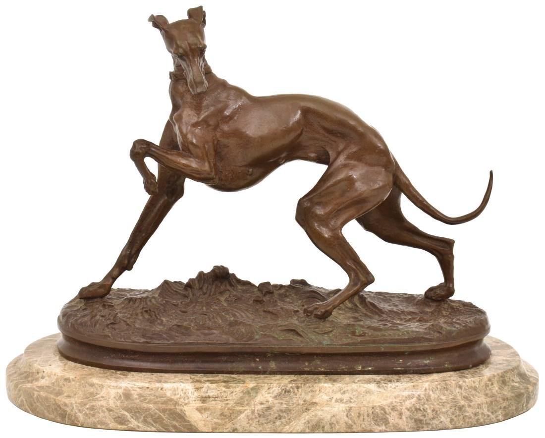 P.J. Mene Bronze Whippet Sculpture