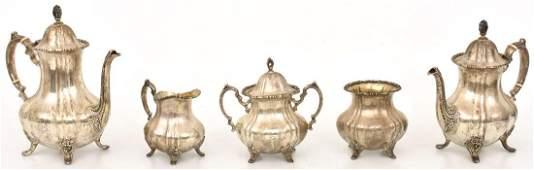 5 Pcs Poole Sterling Silver Tea Set