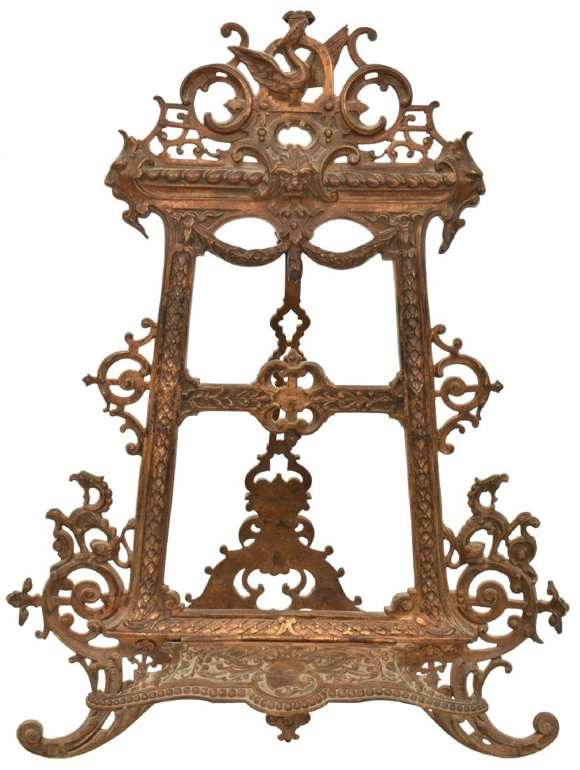 Lg. Pierced Decorated Bronze Table Easel