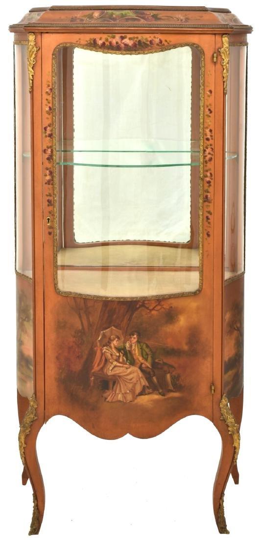 Paint Decorated Gilt Vitrine Curio Cabinet