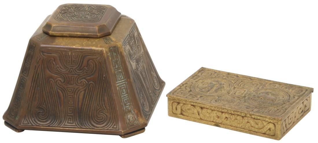 2 Tiffany Studios Bronze Desk Set Pieces