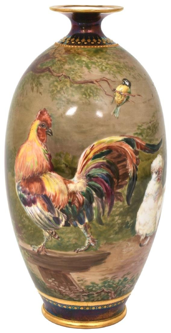 11.5 in. Hand Painted Porcelain Vase w/ Chickens