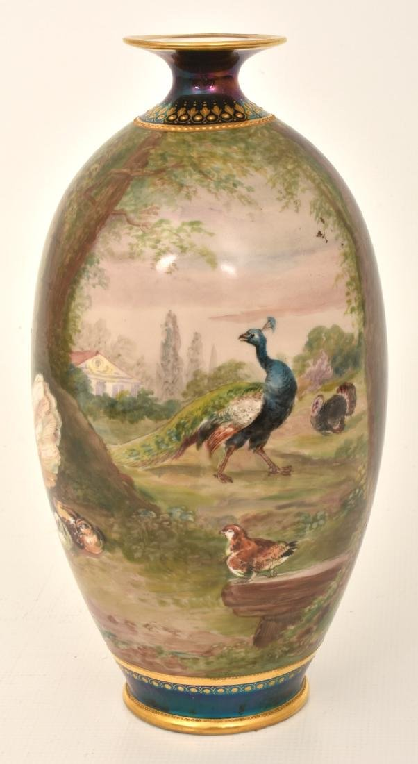 11.5 in. Hand Painted Porcelain Vase w/ Chickens - 3