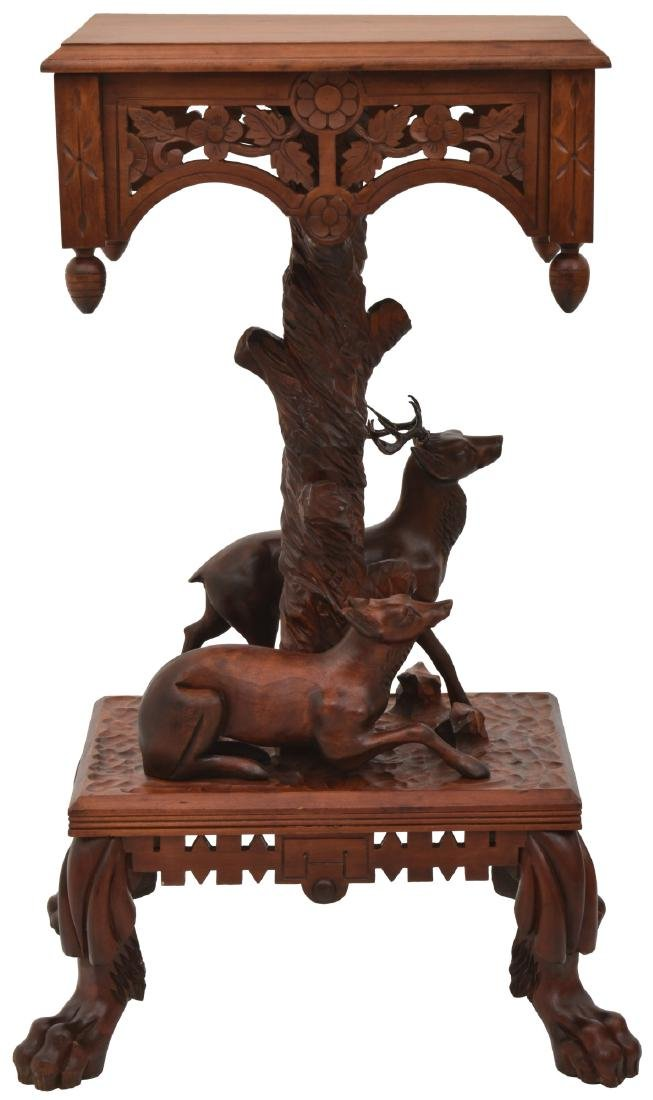 Carved Mahogany Plant Stand w/ Deer
